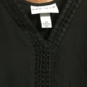 Ava&viv 3x hi low top embroidered neckline